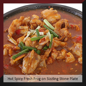 Hot Spicy Fresh Frog on Sizzling Stone Plate